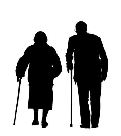 Grandmother and grandfather couple walking with stick together vector silhouette isolated. Old woman and old man family life. Mature senior people in love. Active healthy grandparents with crutches.