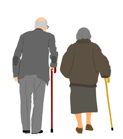 Grandmother and grandfather couple walking with stick together vector illustration isolated. Old woman and old man family life. Mature senior people in love. Active healthy grandparents with crutches.