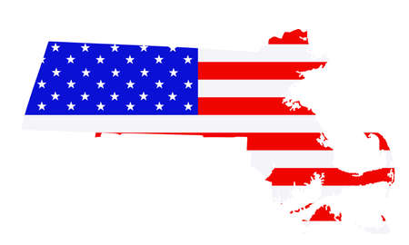 Massachusetts state map vector silhouette illustration. United States of America flag over Massachusetts map. USA, American national symbol of pride and patriotism. Vote election campaign banner.