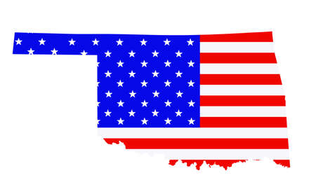 Oklahoma state map vector silhouette illustration. United States of America flag over Oklahoma map. USA, American national symbol of pride and patriotism. Vote election campaign banner.