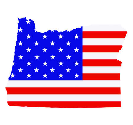 Oregon state map vector silhouette illustration. United States of America flag over Oregon map. USA, American national symbol of pride and patriotism. Vote election campaign banner.