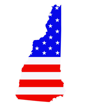 New Hampshire state map vector silhouette illustration. United States of America flag over New Hampshire map. USA, American national symbol of pride and patriotism. Vote election campaign banner.