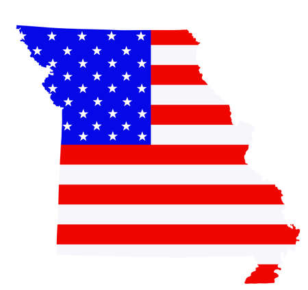 Missouri state map vector silhouette illustration. United States of America flag over Missouri map. USA, American national symbol of pride and patriotism. Vote election campaign banner.