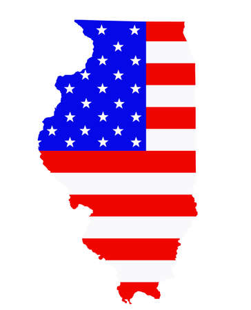 Illinois state map vector silhouette illustration. United States of America flag over Illinois map. USA, American national symbol of pride and patriotism. Vote election campaign banner. Ilustrace