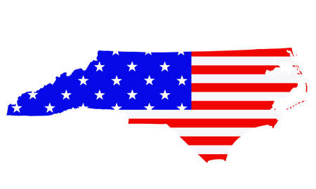 North Carolina state map vector silhouette illustration. United States of America flag over North Carolina map. USA, American national symbol of pride and patriotism. Vote election campaign banner.