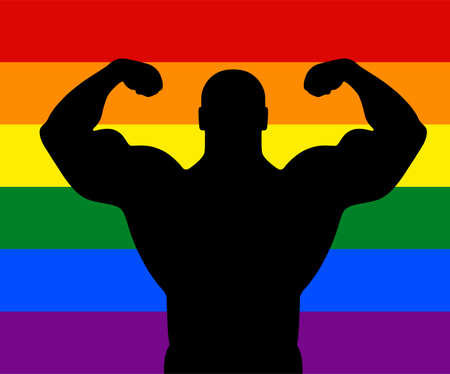 Gay flag background behind man muscular bodybuilder vector silhouette illustration. Sport homosexual boy strong arms shadow. Body builder athlete show muscles. Rainbow flag, LGBT colorful symbol.