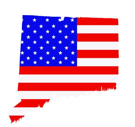 Connecticut state map vector silhouette illustration. United States of America flag over Connecticut map. USA, American national symbol of pride and patriotism. Vote election campaign banner. Ilustrace
