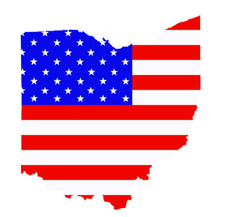 Ohio map vector silhouette illustration. United States of America flag over Ohio map. USA, American national symbol of pride and patriotism. Vote election campaign banner. Ilustrace