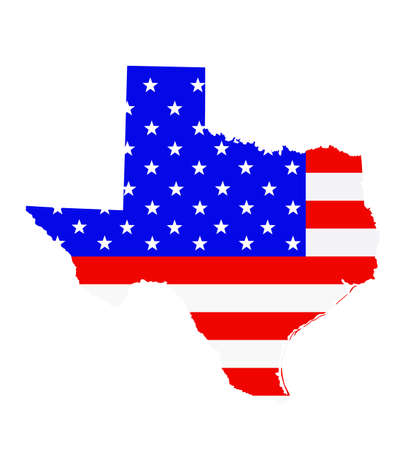 Texas state map vector silhouette illustration. United States of America flag over Texas map. USA, American national symbol of pride and patriotism. Vote election campaign banner.