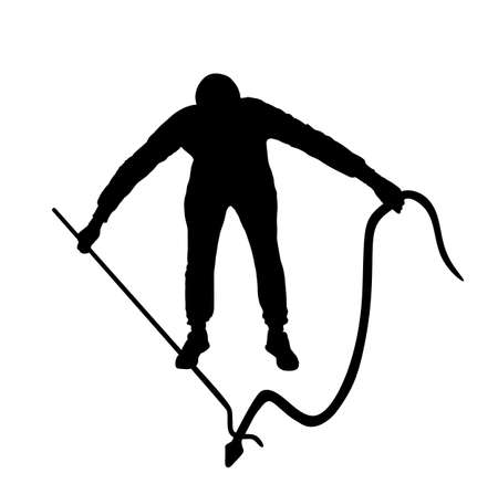 Brave man catching snake with stick vector silhouette illustration isolated on white background. Poison snake control. Deadly venom snake serpent catch for medicine pharmacy. Removal danger intruder.