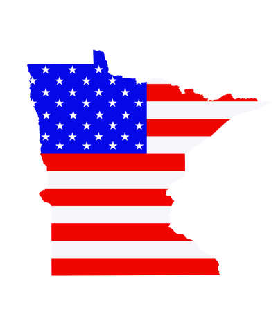 Minnesota state map vector silhouette illustration. United States of America flag over Minnesota map. USA, American national symbol of pride and patriotism. Vote election campaign banner.