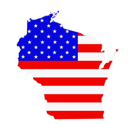 Wisconsin state map vector silhouette illustration. United States of America flag over Wisconsin map. USA, American national symbol of pride and patriotism. Vote election campaign banner.