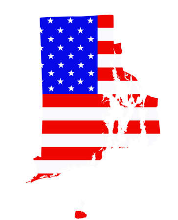 Rhode Island state map vector silhouette illustration. United States of America flag over Rhode Island map. USA, American national symbol of pride and patriotism. Vote election campaign banner. Ilustrace