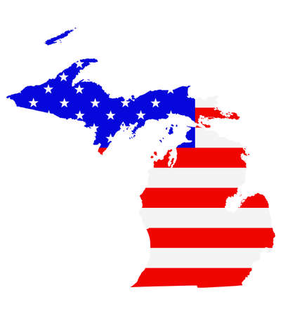 Michigan state map vector silhouette illustration. United States of America flag over Michigan map. USA, American national symbol of pride and patriotism. Vote election campaign banner.