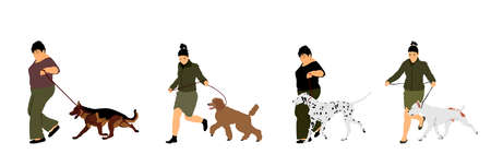 Owner woman keeps dog on the leash by running, champion dog vector illustration, show exhibition. Pet friendly. German Shepard, French Poodle, Dalmatian, American Staffordshire terrier. Stafford bull. Ilustrace