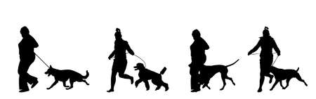 Owner woman keeps dog on the leash by running, champion dog vector silhouette, show exhibition. Pet friendly. German Shepard, French Poodle, Dalmatian, American Staffordshire terrier. Stafford bull.