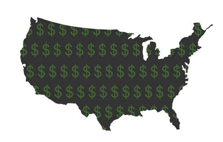 Dollar sign shameless over USA map vector silhouette illustration isolated on white. United States of America map with dollar symbol. Strong and powerful economy profit. Trust and credibility currency