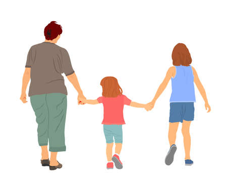 Grandmother walking with grandchildren hold hands vector illustration. Happy family outdoor enjoy. Boy and girl with granny. Brother and sister closeness. Babysitter senior woman with kids.