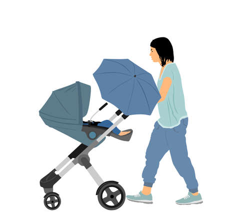 Mom and baby in pram walking vector illustration isolated on white. Happy family enjoy outdoor. Mother love little child. Young woman with little son or daughter in stroller.  Babysitter with trolley.