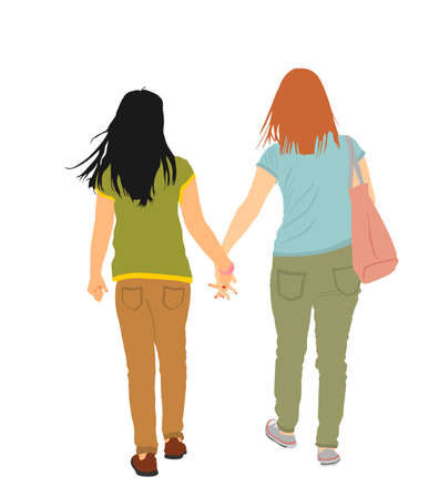 Homosexual girls walking and hand holding vector illustration isolated. Gay couple tenderness outdoor. Hand to hand closeness, lady love female. Lesbian couple handsome woman love girl. Pride rights