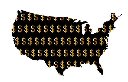 Gold Dollar sign shameless over USA map vector silhouette illustration isolated on white background. United States of America map with dollar symbol. Strong and powerful economy. Trust and credibility Ilustrace