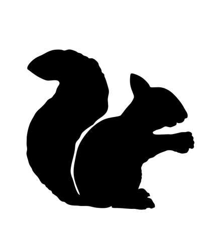 Squirrel vector silhouette illustration isolated on white background. Funny tiny rodent, small animal from forest. Lovely pet symbol.