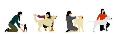 Owner woman shows champion purebred dog on stage with competition vector illustration. Pet friendly. Pincher or Manchester terrier, Labrador retriever, American Staffordshire terrier show exhibition.
