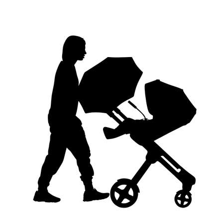 Mom and baby in pram walking vector silhouette illustration isolated on white. Happy family enjoy outdoor. Mother love little child. Young woman with little son or daughter in stroller.  Babysitter wi