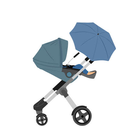 Transportation Little baby in pram vector illustration isolated on white background. New born baby in carriage. Toddler cart. Child in baby stroller, trolley. happy family with newborn son or daughter