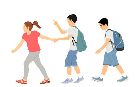 Laughing kids going to school together, vector illustration. Back to school. Boy and girl with backpack. Happy kids friends. Happy Schoolkids education. Sister hold hand brother to crossing street.