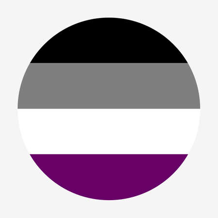 Vector circle asexual Flag badge banner. Symbol or emblem of asexual people, man and woman.