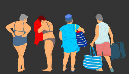 Mature woman enjoy on sea beach vector illustration. Senior lady party, sunbathing after swimming. Tourist standing in swimwear dries with towel. Vocation summer pleasure with friends in bikini.