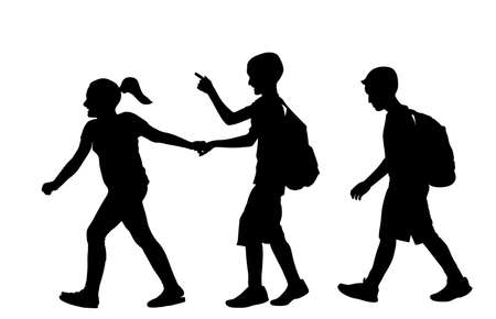 Laughing kids going to school together vector silhouette illustration. Back to school. Boy and girl with backpack. Happy kids friend. Schoolkids education. Sister hold hand brother to crossing street.