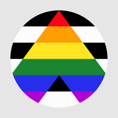 Straight alliance flag vector illustration. Straight ally pride circle badge symbol. Sexual identity. Gay pride.