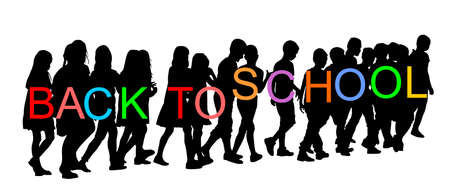 Kids going to school together vector silhouette illustration. Back to School happy boys and girls. School excursion, hold hand friends. Children crowds group. Little brother and sister crossing street