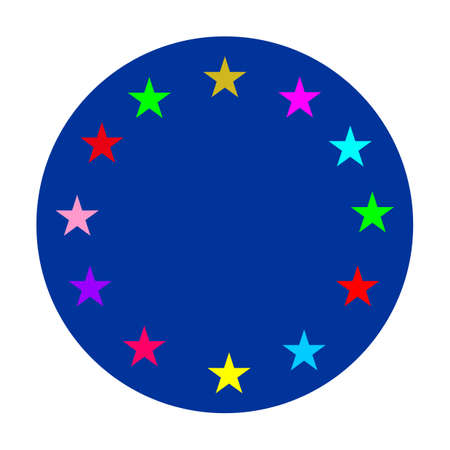 European Union circle gay vector flag or LGBT badge vector flag sign isolated. Gay culture banner symbol. Ilustrace