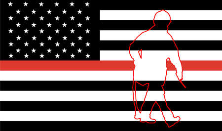 Thin Red Line Firefighter Flag Vector. USA flag remembering, memories on fallen fire fighters officers on duty. Firefighter members honor. Fireman with fire hose silhouette, member of fire department Ilustrace
