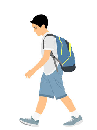 Sad boy with backpack going to school vector illustration. Back to school. School kid walking with education trouble, bad grades evaluation after summer enjoy. Bowed head son do not like learning.