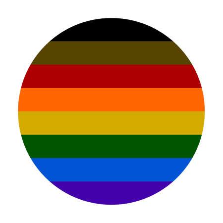 LGBTQ flag circle badge banner vector illustration isolated on white background. L Lesbian flag, G Gay Pride flag colors. B Bisexual flag. T Transgender community pride. Q Queer. Gay parade symbol. Ilustrace