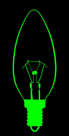 Light bulb vector silhouette illustration isolated on black background. Electric lamp symbol of technology prosperity. Smart idea sign.