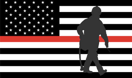 Thin Red Line Firefighter Flag Vector. USA flag remembering, memories on fallen fire fighters officers on duty. Firefighter members honor. Fireman with fire hose silhouette, member of fire department Ilustracja