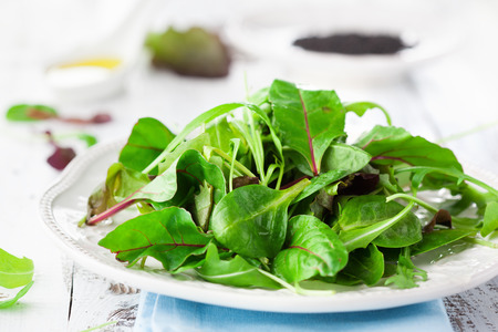 Fresh green salad with spinach, arugula, romaine and lettuce and sesame seeds on a rustic white background, selective focus