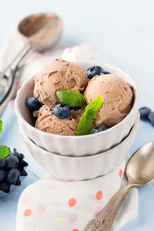 Chocolate ice-cream with mint and fresh blueberries on rustic wooden background, selective focus
