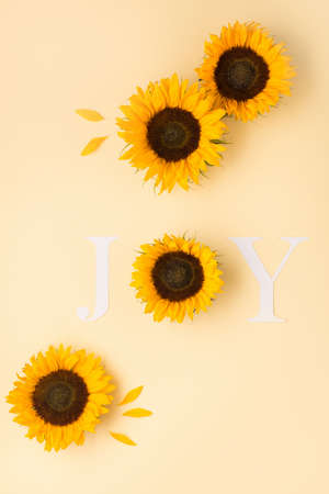 Word Joy. Autumn greeting card invitation. Beautiful fresh sunflowers with leaves on yellow background. Letter for posters, web banners. Fall, thanksgiving day concept. Flat lay, top view, copy space.