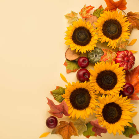 Autumn holiday composition. Sunflowers, dried leaves, pumpkins, apples and rowan berries on yellow background. Autumn, fall, thanksgiving day concept. Flat lay, top view, copy space Stockfoto