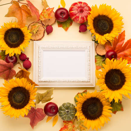 Autumn floral frame, web banner. Garland of Sunflowers, dried leaves, pumpkins, apples and rowan berries on yellow background. White wooden empty frame. Fall, Thanksgiving design. Flat lay, top view.