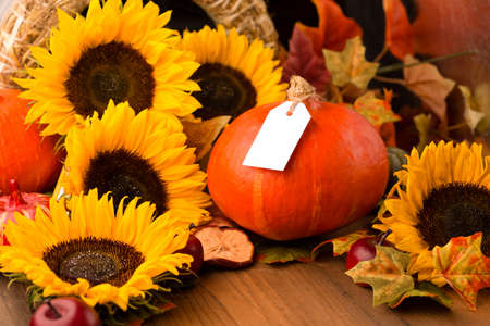 Autumn holiday composition. Sunflowers, dried leaves, pumpkins, apples and rowan berries on rustic wooden background. Autumn, fall, thanksgiving day concept. Selective focus, copy space.