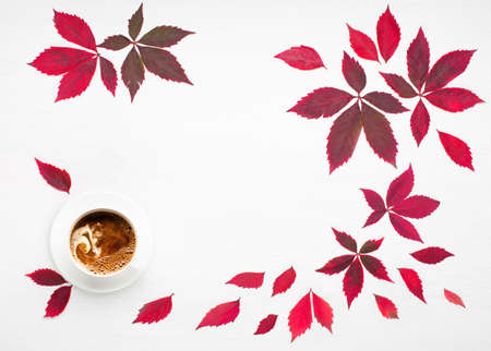 Autumn creative composition. Red leaves, empty blank card in paper envelope, wild grape berries on white wooden background. Fall, thanksgiving day concept. Flat lay, top view, copy space. Stockfoto