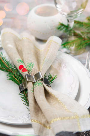 Christmas or New Year Holiday Table Setting. Selective focus white wooden background. Winter holiday dinner concept. Stock fotó - 157801073