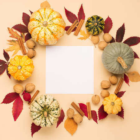 Autumn holiday composition with pumpkins, nuts and dry leaves on paper beige color background. Creative autumn, thanksgiving, fall, halloween concept. Top view, copy space, flat lay. 스톡 콘텐츠